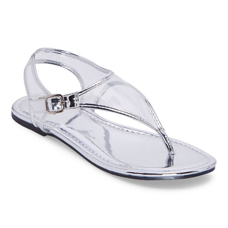 Mixit Womens Slate T-Strap Flat Sandals, 10 Medium, Silver
