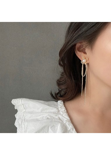 Mother's Day Gifts Gold Metal Pearl Detail Chain Tassel Earring Set - One Size