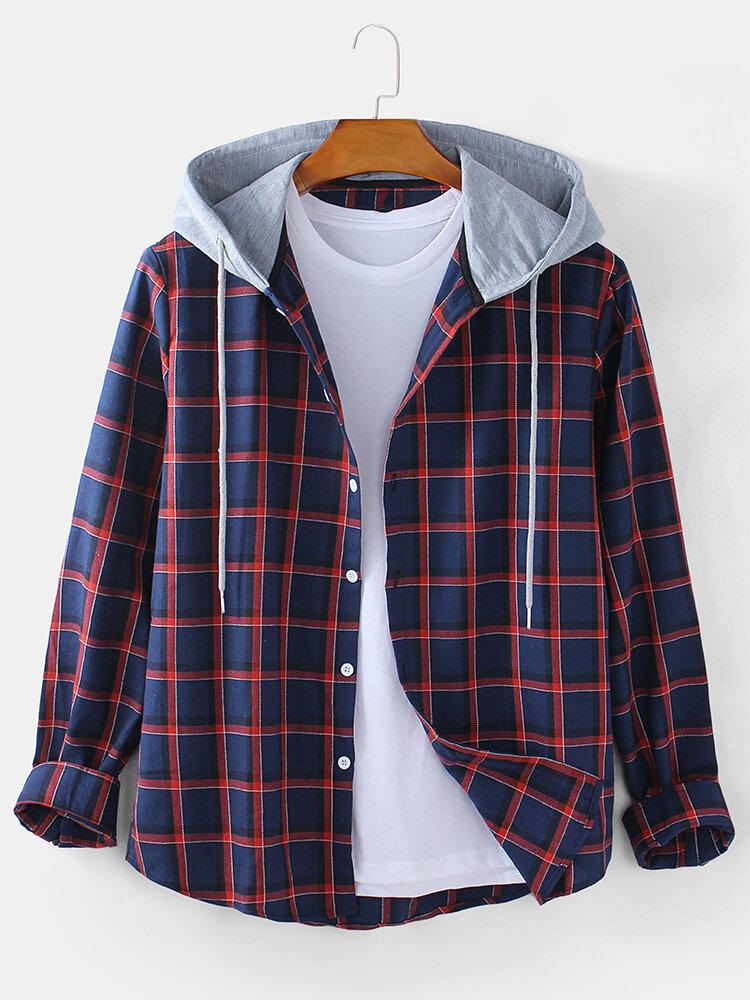 Mens Check Button Up Long Sleeve Casual Plain Drawstring Hooded Shirts