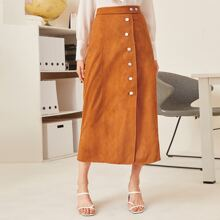 Suede Button Front Zip Back Skirt