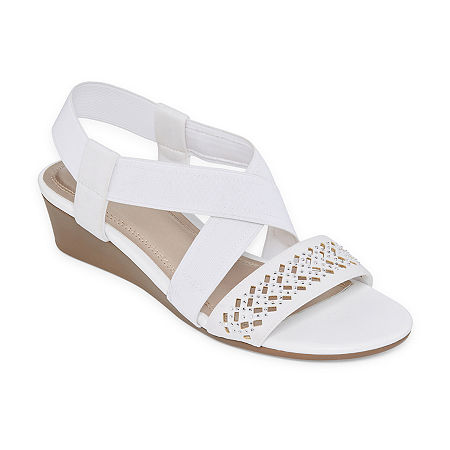 east 5th Womens Greece Wedge Sandals, 8 1/2 Medium, White