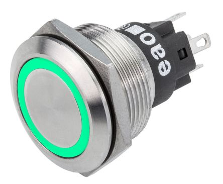 EAO Latching Green LED Push Button Switch, IP65, IP67, Panel Mount, 24V dc