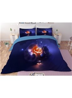 Jack-o-lanterns and Cat Purple Halloween Printing 3-Piece 3D Bedding Sets/Duvet Covers