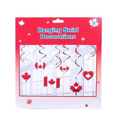 Canada 12pk Swirl Decorations