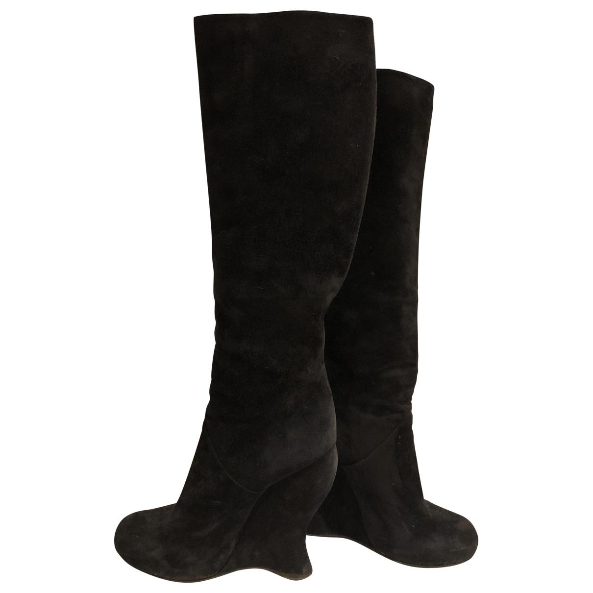Bottega Veneta \N Black Suede Boots for Women 38.5 EU