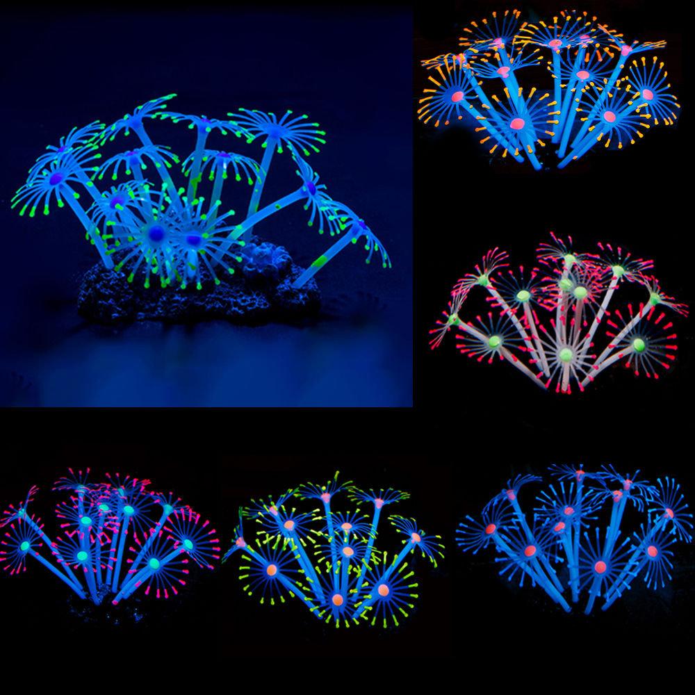Silicone Glowing Artificial Fish Tank Aquarium Coral Plants Ornament Underwater Pets Decor