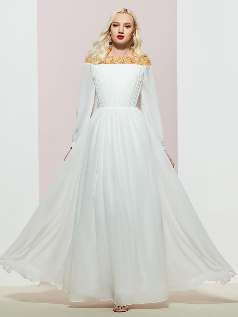 Ericdress A-Line Long Sleeves Beading Floor-Length Evening Dress