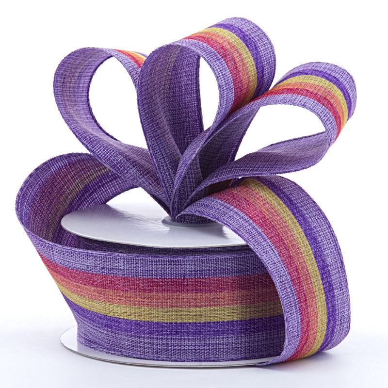 Polyester 1-1/2 X 10 Yards Rainbow Stripe On Purple Ribbon by Ribbons.com