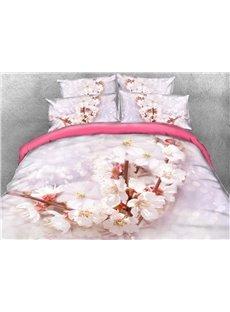 Vivilinen Cherry Blossom Printed Cotton 4-Piece 3D Bedding Sets/Duvet Covers