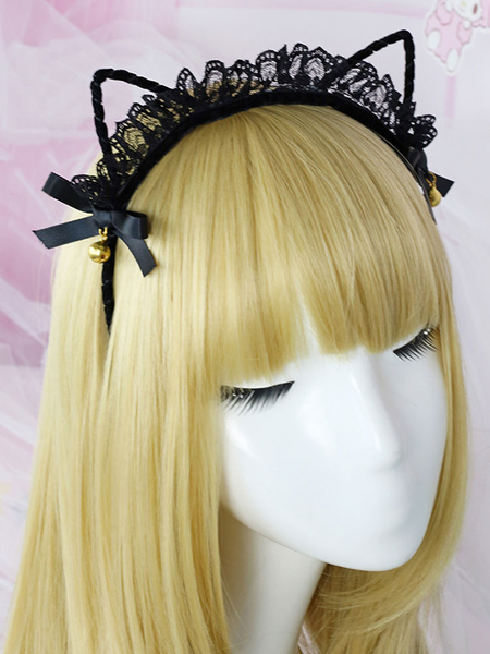 Milanoo Sweet Lolita Hair Accessory Lace Bell Bow Black Lolita Hair Clasp