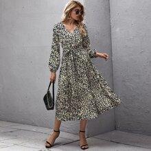 Lantern Sleeve Self Belted Leopard Dress