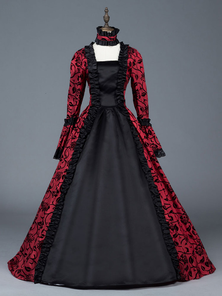 Milanoo Victorian Dress Costume Women's Red Bow Floral Print Square Neckline Long Sleeves Matte Satin Dress Victorian Era Style Ball Gown Halloween