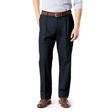 Dockers Big & Tall Classic Fit Signature Khaki Lux Cotton Stretch Pants - Pleated D3, 52 32, Blue
