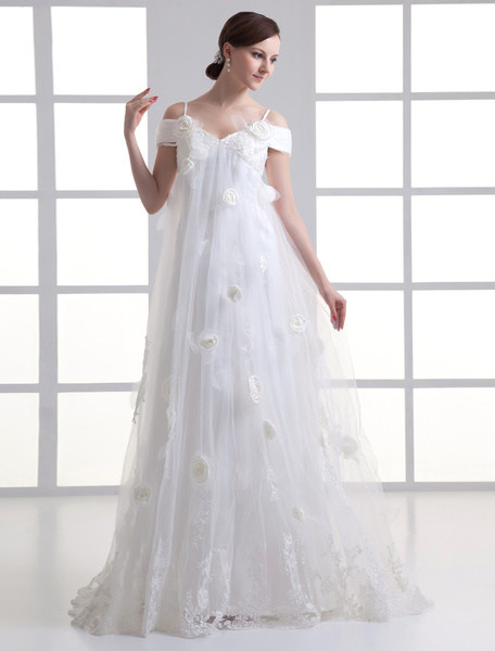 Milanoo Ivory Floral Off-Shoulder Tulle A-line Wedding Dress