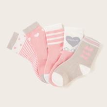 Toddler Girls Heart & Striped Pattern Socks 5pairs