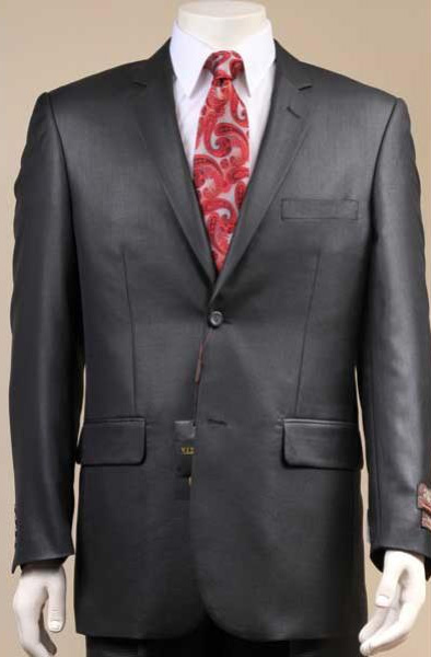 Mens Solid Black Single Breasted 2 Button Notch Lapel Suit