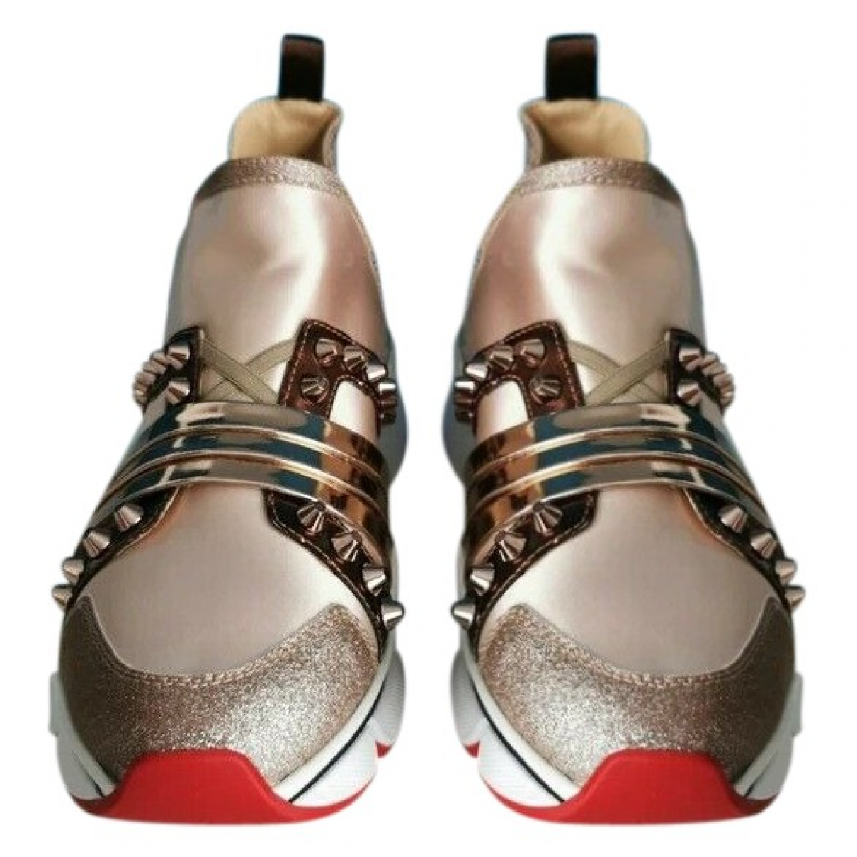 Christian Louboutin Red Runner Donna Glitter Sunset Gold Cloth Trainers for Women 41.5 EU