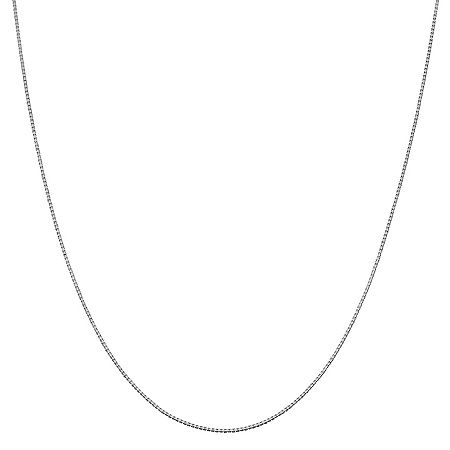 14K White Gold 16 Inch Solid Box Chain Necklace, One Size , No Color Family