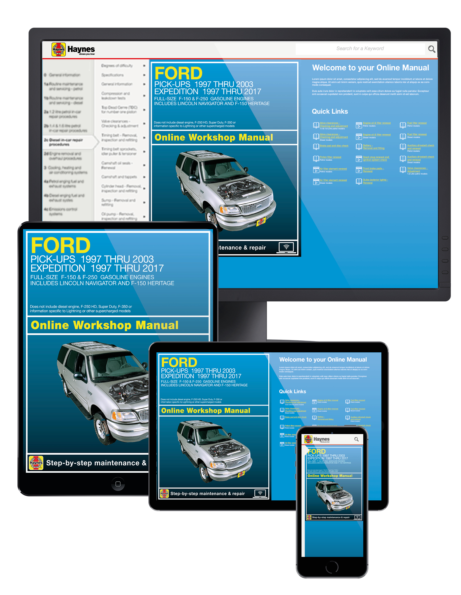 Ford F-150 (97-03), F-150 Heritage (04), F-250 (97-99), Expedition (97-17) & Lincoln Navigator (98-17) 2WD & 4WD Haynes Online Manual