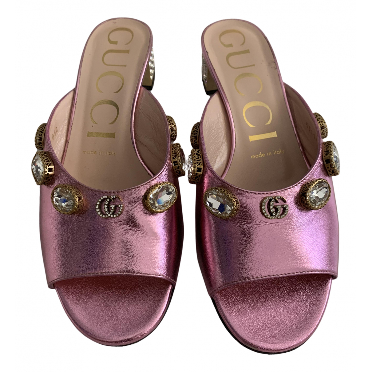Gucci \N Pink Leather Sandals for Women 36.5 EU