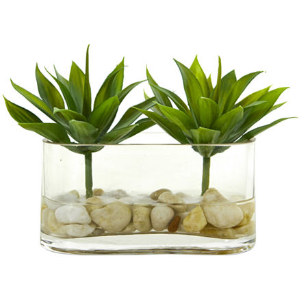 6.5 Mini Agave Succulent Artificial Arrangement in Glass Vase, One Size , Green
