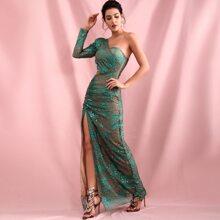 One Shoulder High Split Glitter Dress