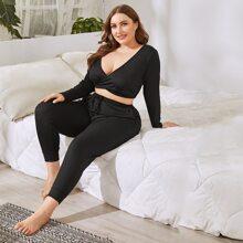 Plus Surplice Plunging Rib-knit  Pajama Set