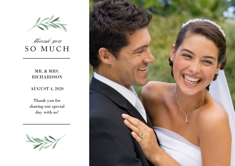Wedding Thank You 5x7 Cards, Premium Cardstock 120lb with Elegant Corners, Card & Stationery -Wedding Thank You Greenery by Tumbalina