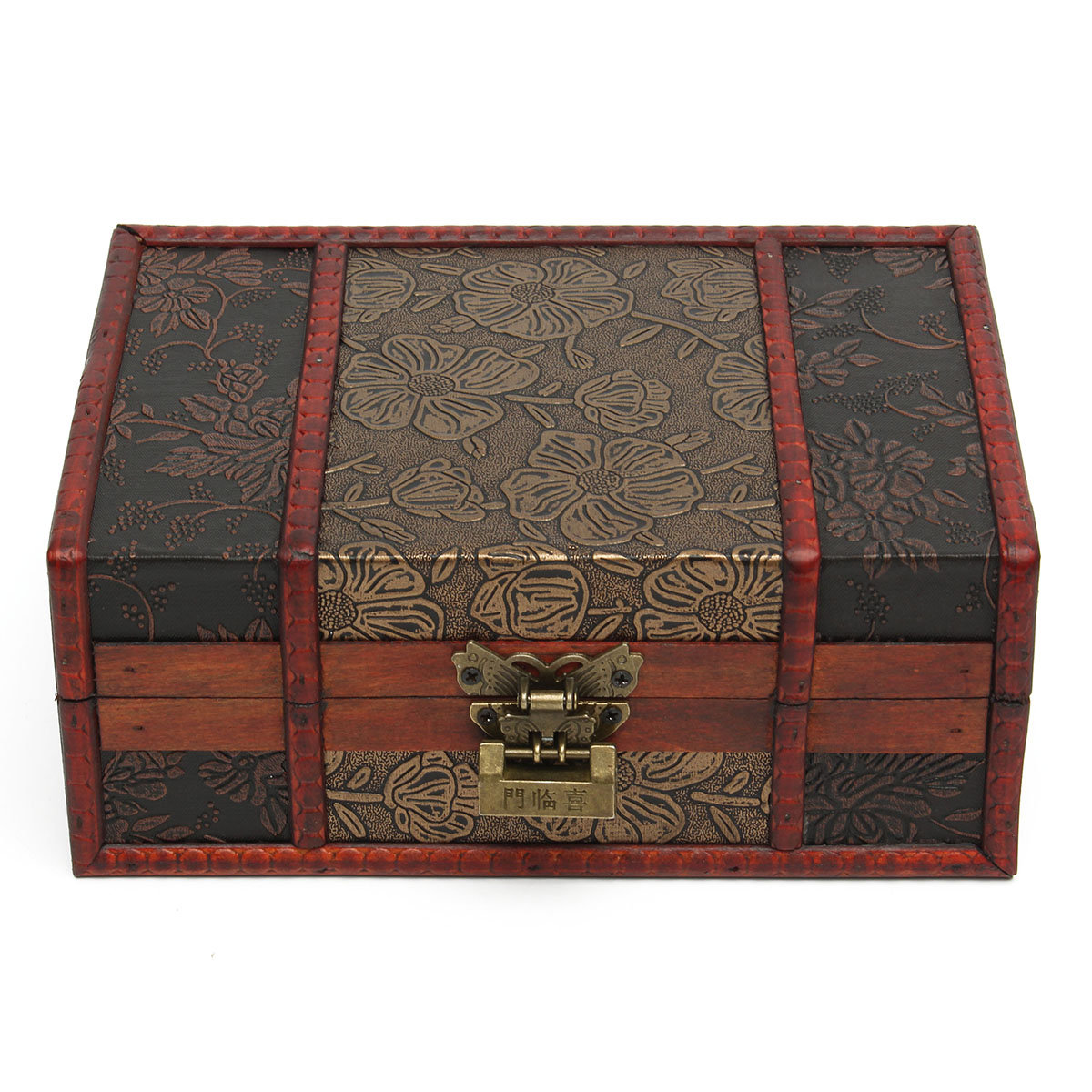 Vintage Red Box Retro Flower Carved Wooden Jewelry Gift Collect Box Case Holder