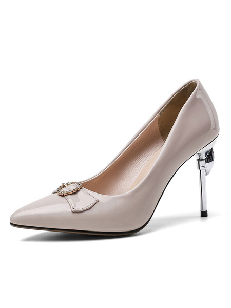 Milanoo Women's High Heels White Pointed Toe Stiletto Heel Patent Leather Pumps Evening Shoes