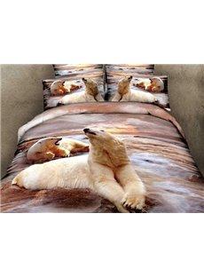 3D Polar Bears Printed Cotton 4-Piece Bedding Sets/Duvet Covers