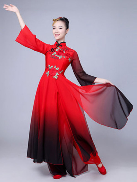 Milanoo Women Chinese Costumes Embroidered Ombre Stand Collar Red Asian Holidays Costumes