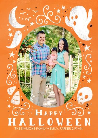 Halloween Photo Cards 5x7 Cards, Standard Cardstock 85lb, Card & Stationery -Happy Halloween Chalk Drawing