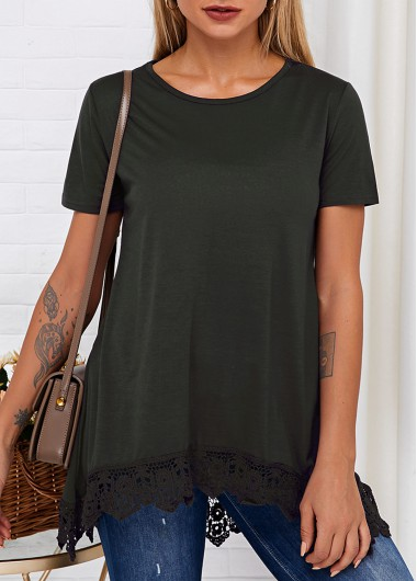 Round Neck Short Sleeve Lace Hem T Shirt - S