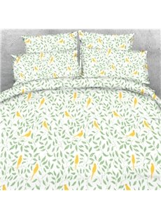 Designer Green Leaves and Yellow Birds Printed Polyester 4-Piece Bedding Sets/Duvet Cover