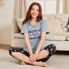 Cartoon And Letter Graphic PJ Set