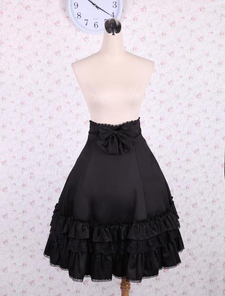 Milanoo Elegant Black High Waist Lolita Skirt Ruffles Bow and Lace Trim