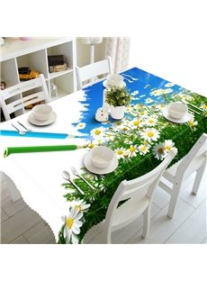 White Daisy Flowers Pattern Design Washable 3D Tablecloth