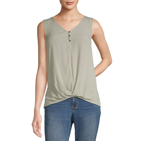 a.n.a Womens V Neck Sleeveless Tank Top, Large , Green