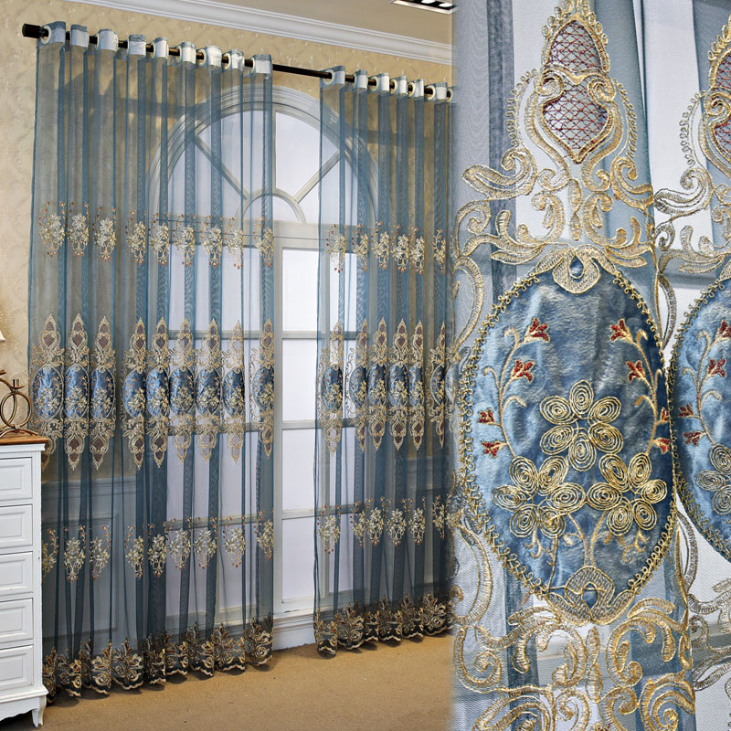 European Luxury Blue Embroidered Custom Living Room Sheer Curtains Breathable Voile Drapes No Pilling No Fading No off-lining