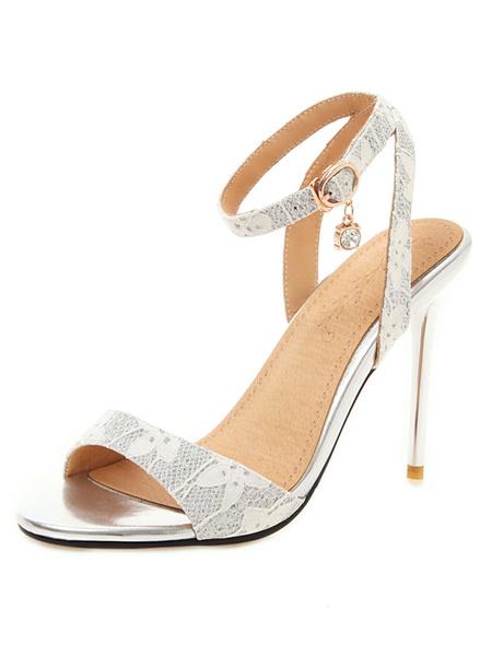 Milanoo High Heel Sandals Womens Printing Design Open Toe Slingback Stiletto Heel Sandals