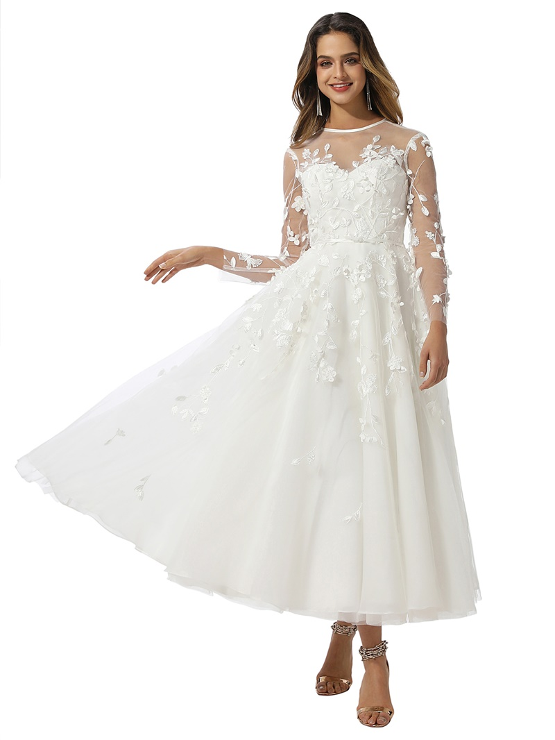 Ericdress A-Line Long Sleeves Tea-Length Garden Wedding Dress 2020