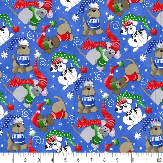 Fabric Traditions Christmas Winter Dogs Blue Cotton Home Décor Fabric   Michaels®