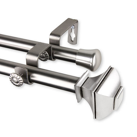 Rod Desyne Marion Double Curtain Rod, One Size , Silver