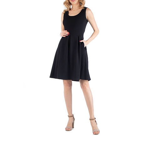 24/7 Comfort Apparel Sleeveless Pleated Dress with Pockets, Small , Black