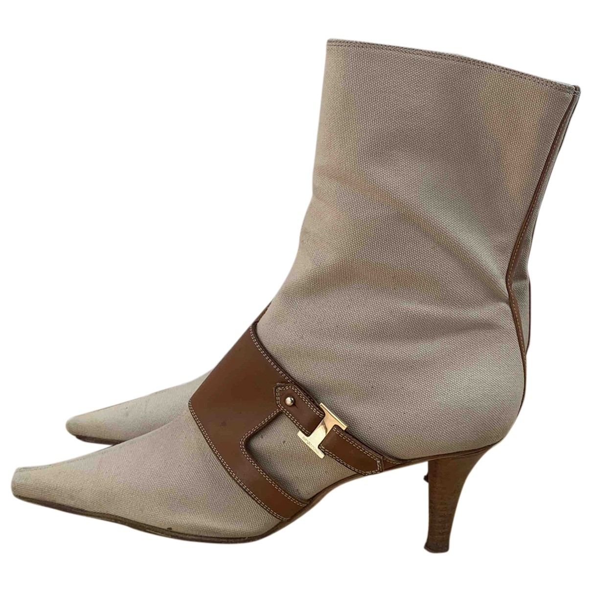 Sergio Rossi \N Beige Cloth Ankle boots for Women 41 EU