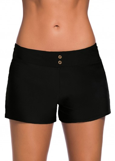 Women'S Black Band Waist Swimwear Short Solid Color Mid Waist Swimsuit Shorts By Rosewe - S