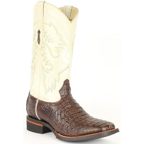 Men's King Exotic Brown Wide Square Toe Smooth Caiman Leather Boots