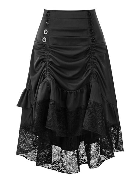 Milanoo Women Gothic Costume Buttons Ruffle Lace Burgundy Retro Skirt Halloween