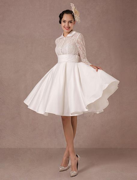 Milanoo Vintage Wedding Dress Long Lace Sleeves Satin Bridal Gown Short Knee Length Summer Wedding Dresses 2020